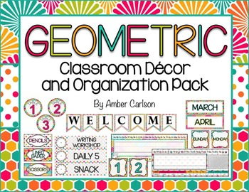 Geometric Classroom Decor and Organization Pack!