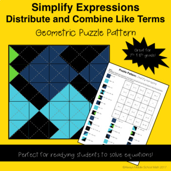 Distribute & Combine Like Terms Color Mystery Pattern