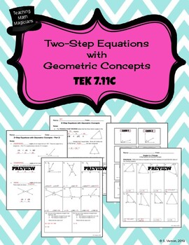 Geometric Concepts 3 Day LESSON - TEKS 7.11C Missing Angles, Triangles