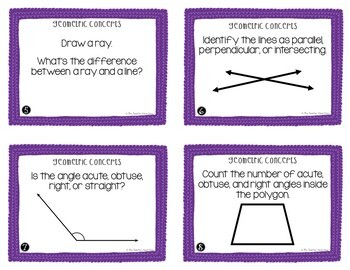 Geometric Concepts Task Cards | Geometric Concepts Center | Geometry Game