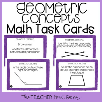 4th Grade Geometric Concepts Task Cards | Geometric Concepts Center