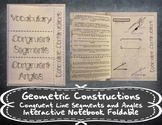 Geometric Constructions - Congruent Line Segments and Angles Foldable