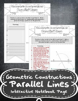 Geometric Constructions - Parallel Lines Notes Handout