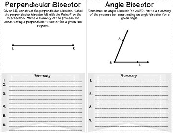 Geometric Constructions - Perpendicular and Angle Bisectors Foldable