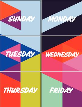 Geometric Days of the Week Calendar Labels