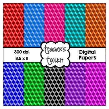 Geometric Digital Background Papers {8.5 x 11} Clip Art CU OK