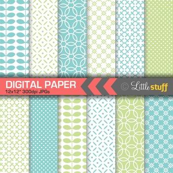 Geometric Digital Paper, Blue and Green Digital Backgrounds