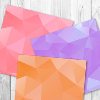 Geometric Digital Paper, Low Poly Digital Paper, Triangular Shapes Background