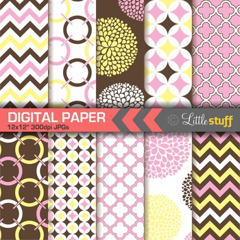 Geometric Digital Paper Pack, Pink Brown Yellow