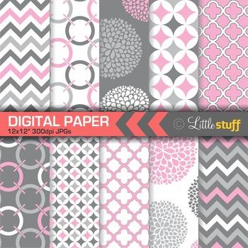 Geometric Digital Paper Pack, Pink Gray