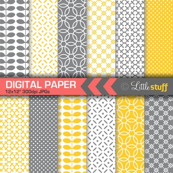 Geometric Digital Paper, Yellow and Gray Digital Backgrounds