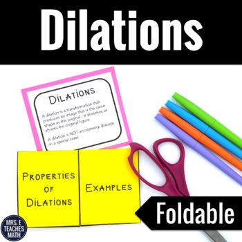 Dilation Foldable Worksheets Teaching Resources TpT