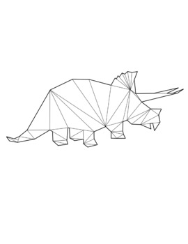 B&W Geometric Dinosaur Clip Art Preview