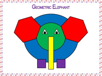 Zoo or Jungle Geometric Elephant 2D Shapes