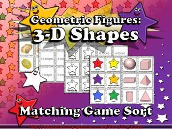 Geometric Figures: 3-D Shapes Matching Game Sort - Superstars