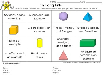 Geometric Figures: 3-D Shapes Thinking Links Activity #1