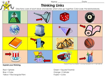 Geometric Figures: 3-D Shapes Thinking Links Activity #2 - Picture Examples