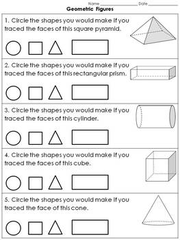 Geometric Figures: 3-D Solid Figures - Faces Practice Sheets #1 - Clear Shapes