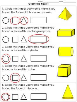 Geometric Figures: 3-D Solid Figures - Faces Practice Sheets #2 - Colored Shapes