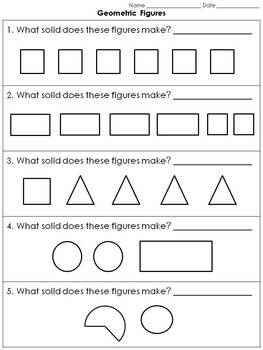 Geometric Figures: 3-D Solid Figures Practice Sheets #1 - Clear Shapes