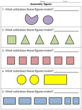 Geometric Figures: 3-D Solid Figures Practice Sheets #2 - Colored Shapes