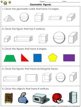Geometric Figures: Compare 3-D Figures Practice Sheets
