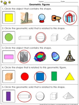 Geometric Figures: Compare 3-D Figures and Plane Shapes Practice Sheets