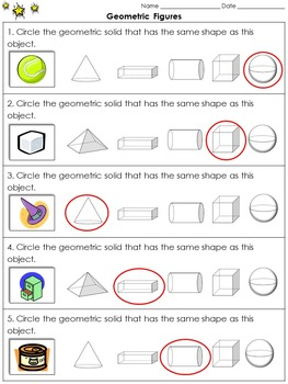 Geometric Figures: Identify Three-Dimensional Figures Practice Sheets