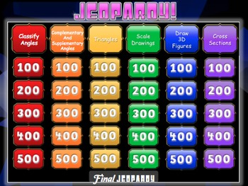 Geometry Jeopardy Review Game! *Geometric Figures* - Middle School Math