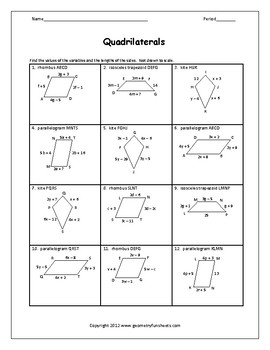 Quadrilaterals Algebra Worksheets & Teaching Resources | TpT