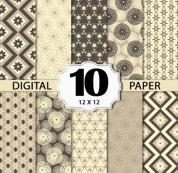 Geometric Floral Digital Paper