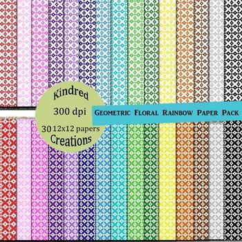 Geometric Floral Digital Papers