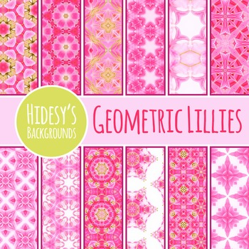 Geometric Floral Themed Digital Papers / Backgrounds Clip Art Commercial Use