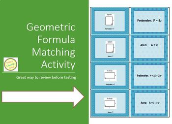 Geometry Formulas - Memory Match Activity/Task Cards/Flash Cards