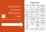 Geometry Formulas Reference Handout or Poster (Area, Volume, etc.)