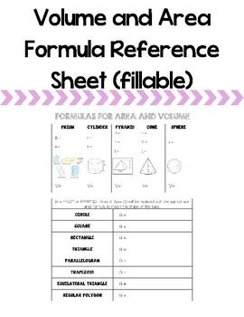 Geometric Formulas Reference Sheet (fillable)