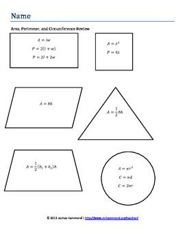 Geometric Formulas Review Packet