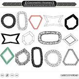 Geometric Frames and Labels, PNG ClipArt Borders + Photoshop Brushes, Modern