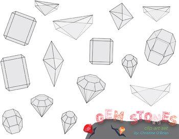 Geometric Gem Stone Clip Art Set