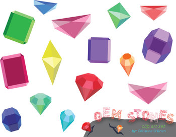 Geometric Gem Stone Clip Art Set
