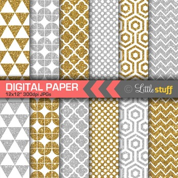 Geometric Glitter Digital Papers, Gold & Silver Digital Backgounds
