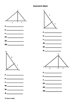 Similiar Triangles (Geometric Mean - Proportions)