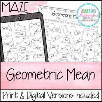 Geometric Mean Maze Worksheet by Amazing Mathematics | TpT