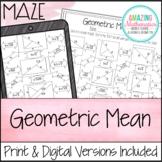 Geometric Mean Worksheet - Maze Activity