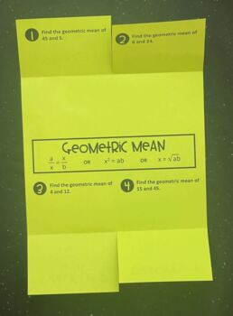 Geometric Mean (Mini Geometry Foldable)