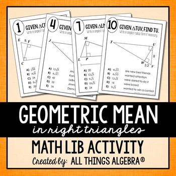 Geometric Mean in Right Triangles Math Lib