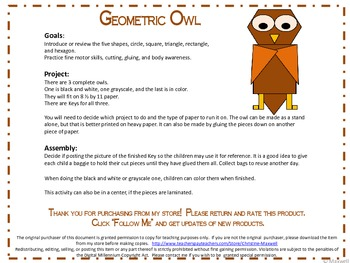 Geometric Owl for Halloween or Owl Studies 2D Shapes
