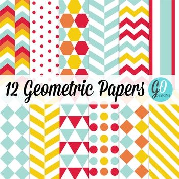 Geometric Papers | Hexagons and Triangles | Aqua, Gold, Re