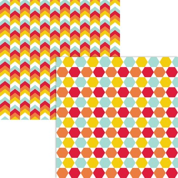 Geometric Papers | Hexagons and Triangles | Aqua, Gold, Red, Orange