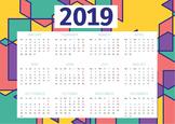 Geometric Pattern 2019 Classroom Calendar